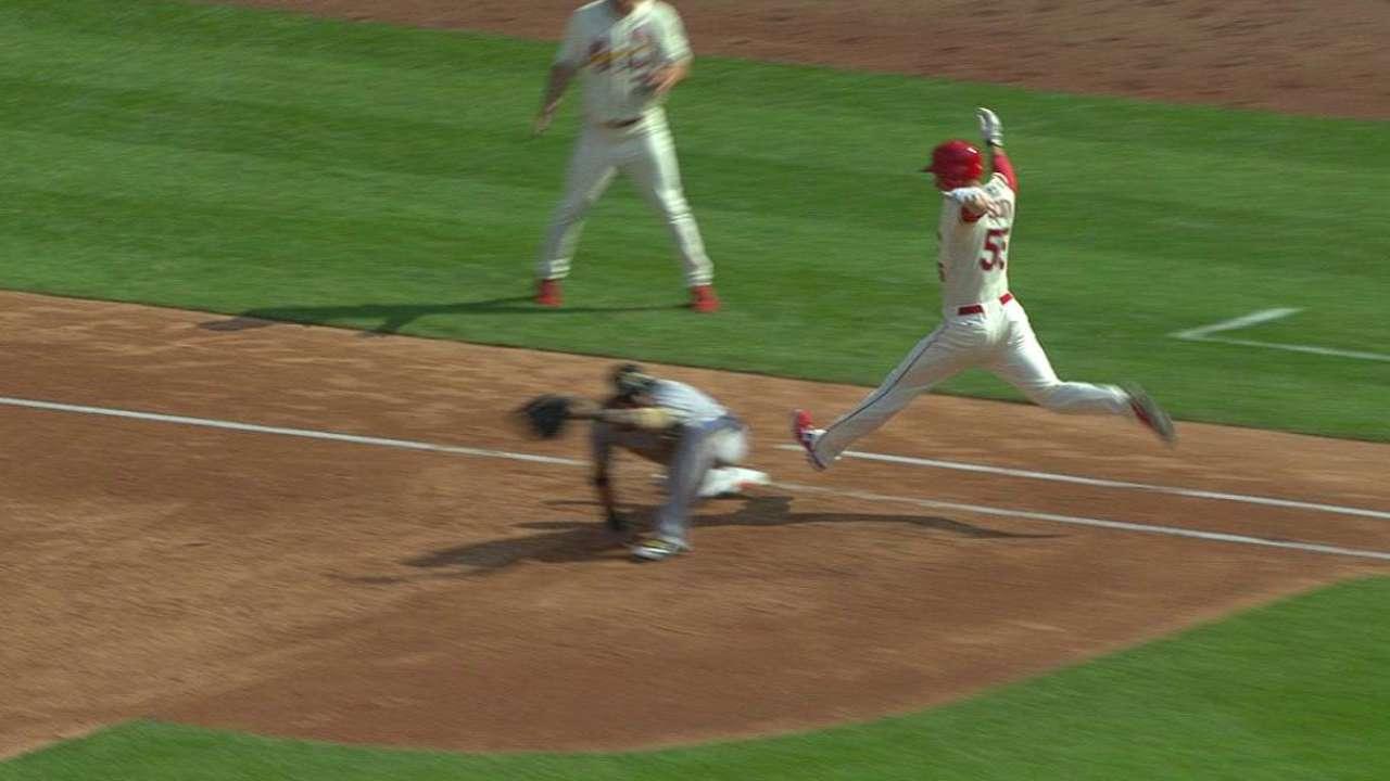 Cardinals score two on error