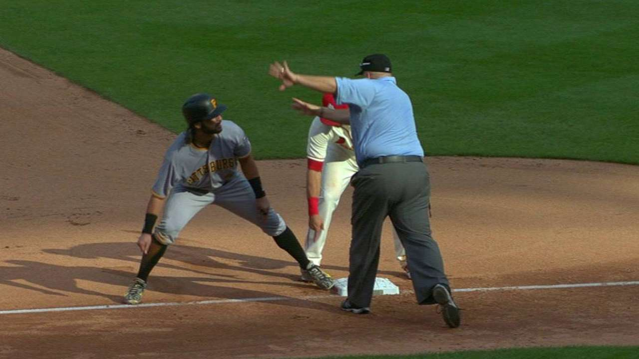 Rodriguez steals third on review