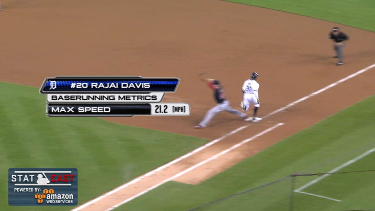 Davis shows off legs in outfield, on base