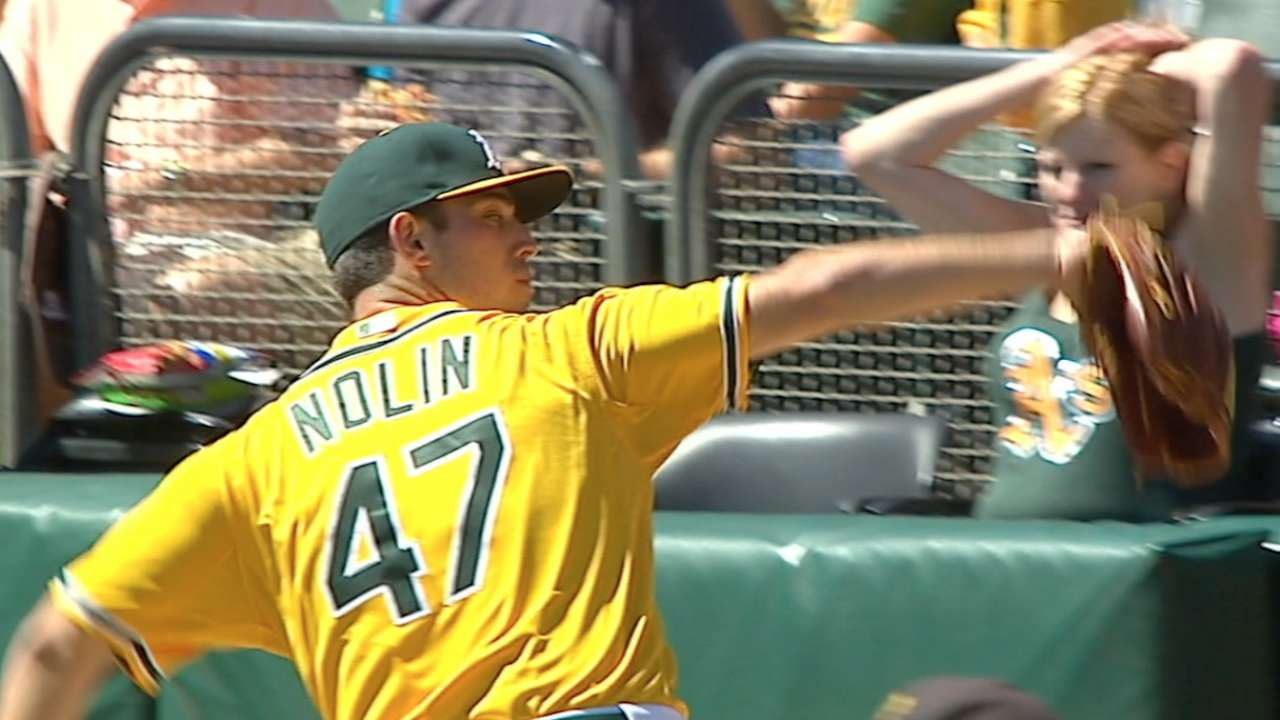 A's pleased with Nolin's solid debut