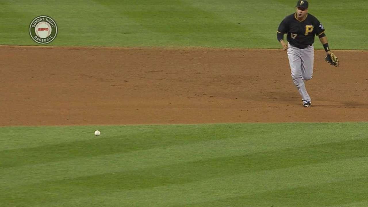 Aramis makes first career start at first base