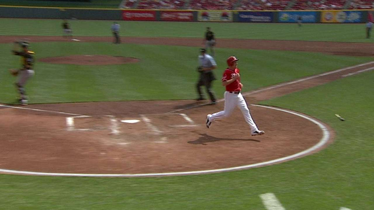 Reds get two on sac fly, error