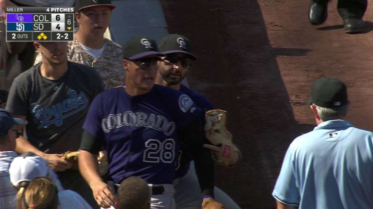 Arenado leaves game with chest contusion
