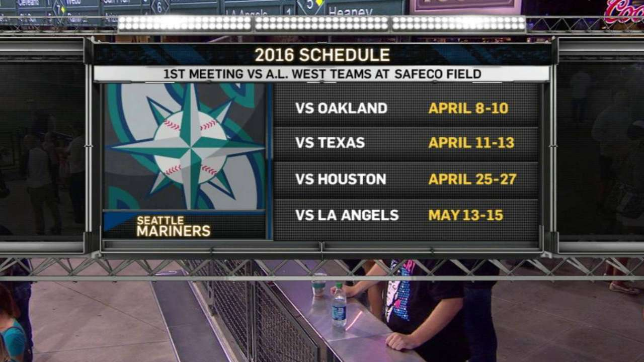 Mariners to open '16 vs. rival Rangers on road