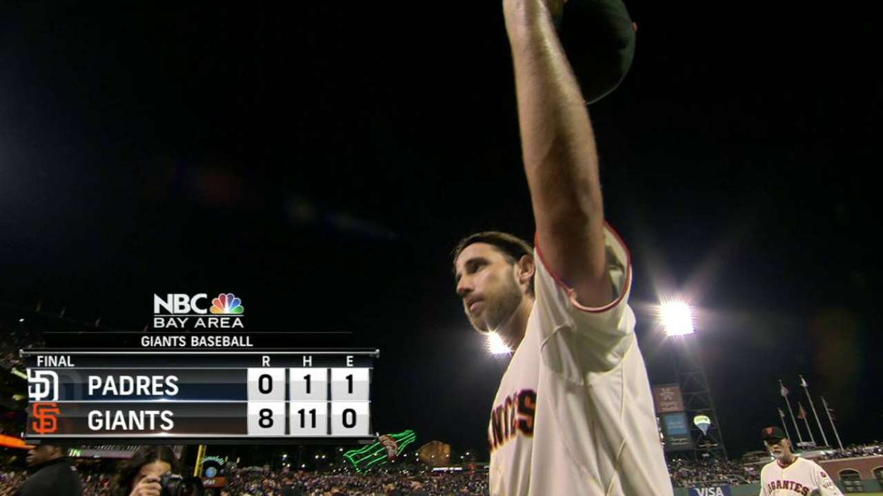 MadBum nearly perfect in shutting out Padres