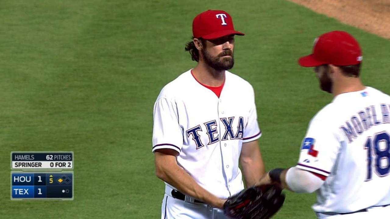 Hamels laments his mistakes in Texas' win