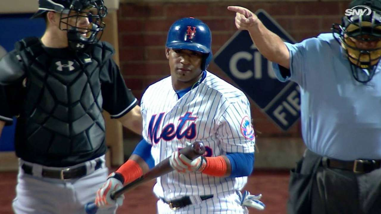 Cespedes is hit by a pitch