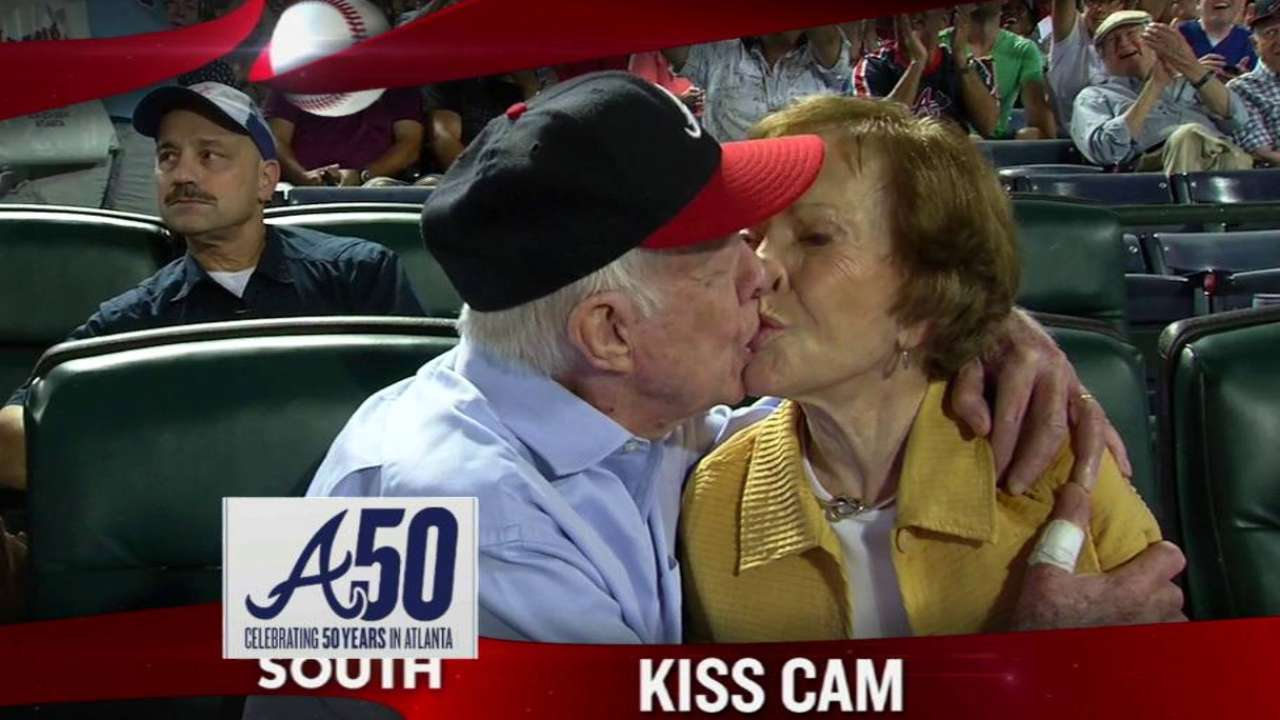 Jimmy Carter's kiss the day's top MLB GIF