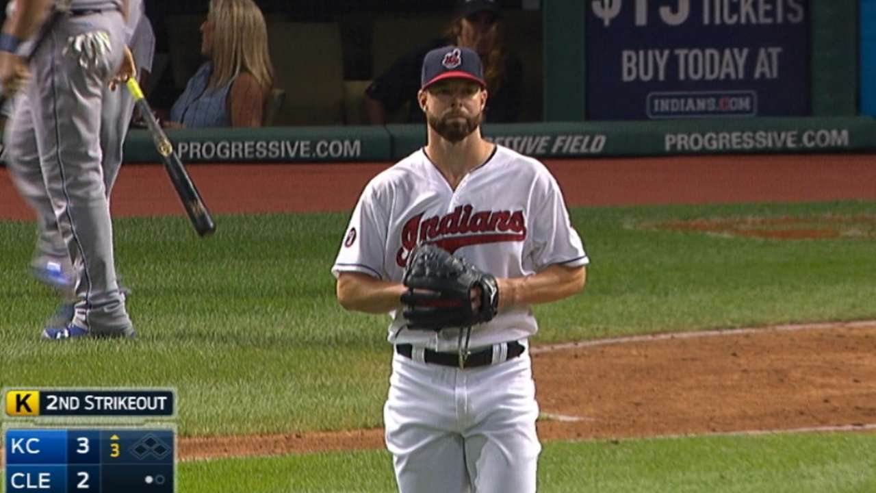 Kluber fans the side in the 3rd