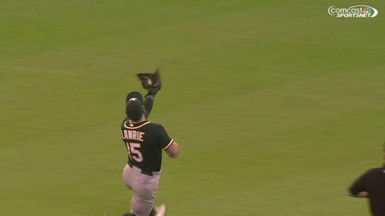Lawrie's over-the-shoulder grab