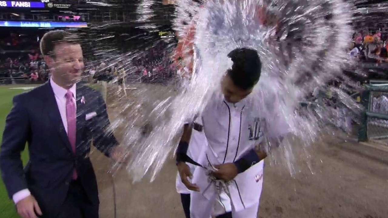 Machado gets ice shower