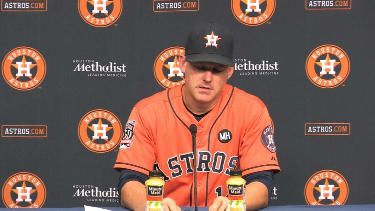 Astros' up-and-down 'pen takes another dip