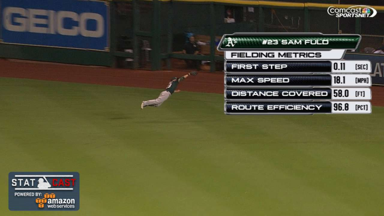 Statcast: Fuld takes flight for acrobatic catch
