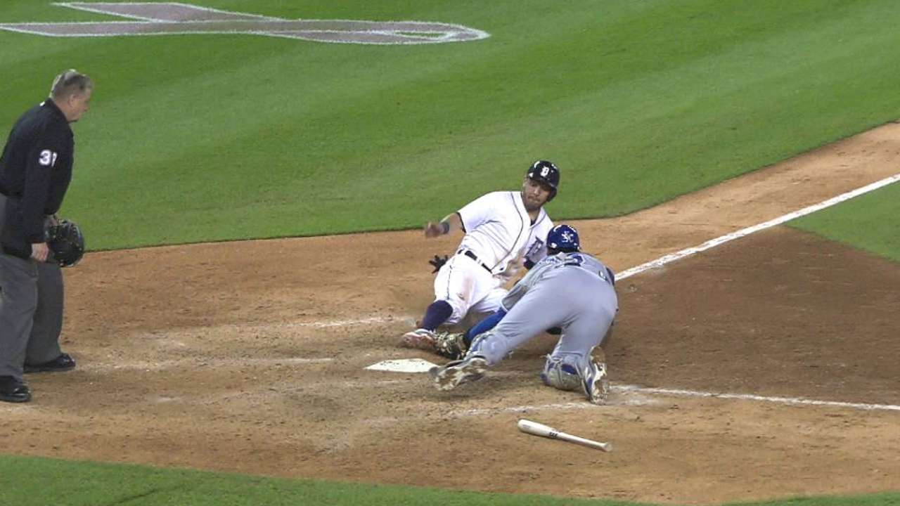 Dyson nabs Kinsler at the plate