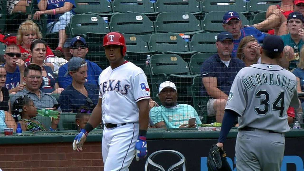 Felix throws ball back to Beltre