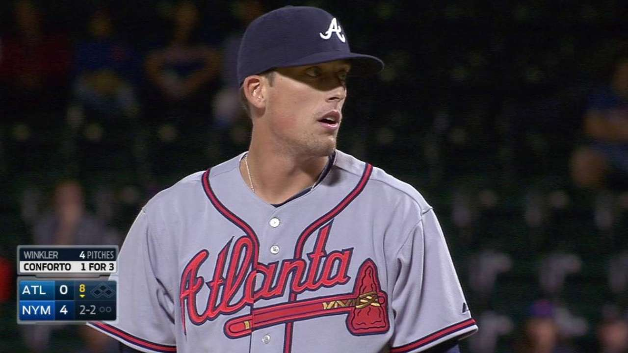 Winkler gets first big league K