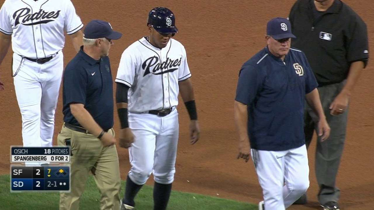 Hamstring cramp causes Solarte to leave game