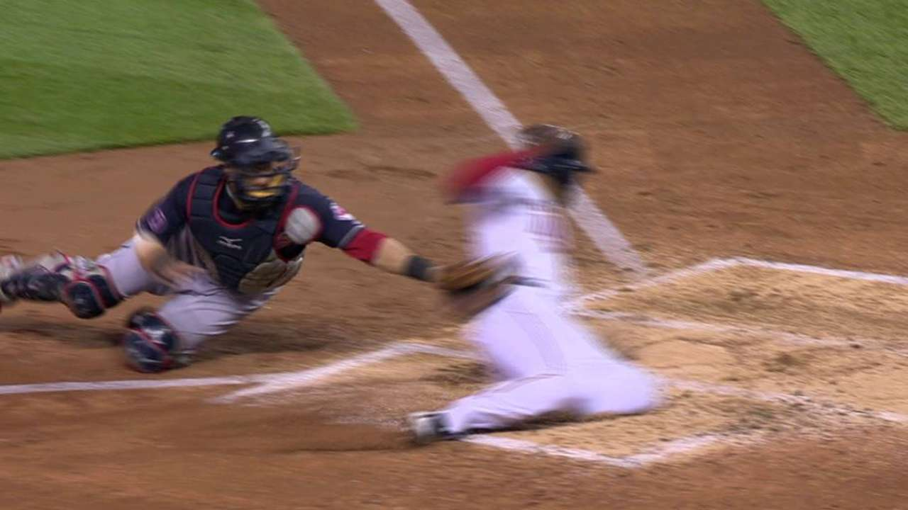 Almonte throws out Hicks for DP