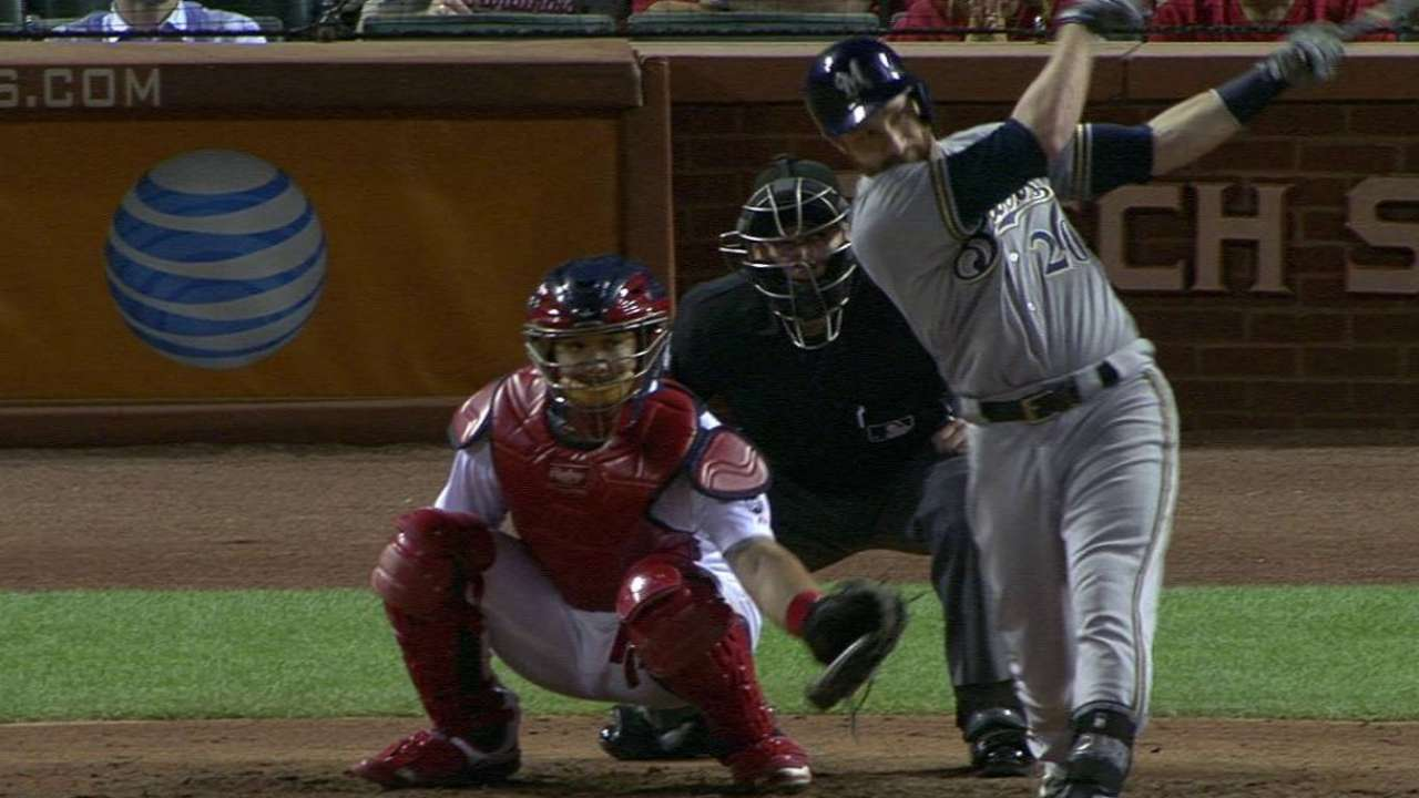 Lucroy embraces return, singles in first at-bat