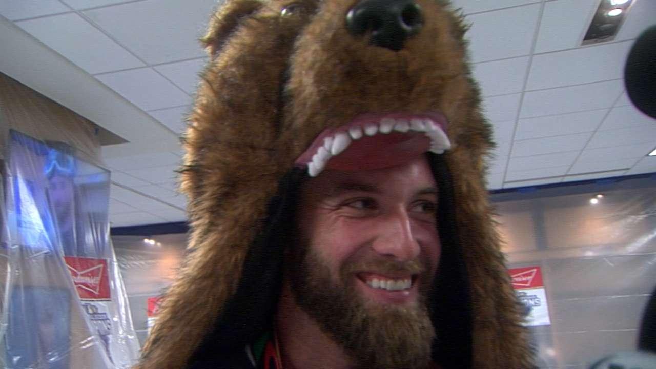 Duffy wears a bear suit