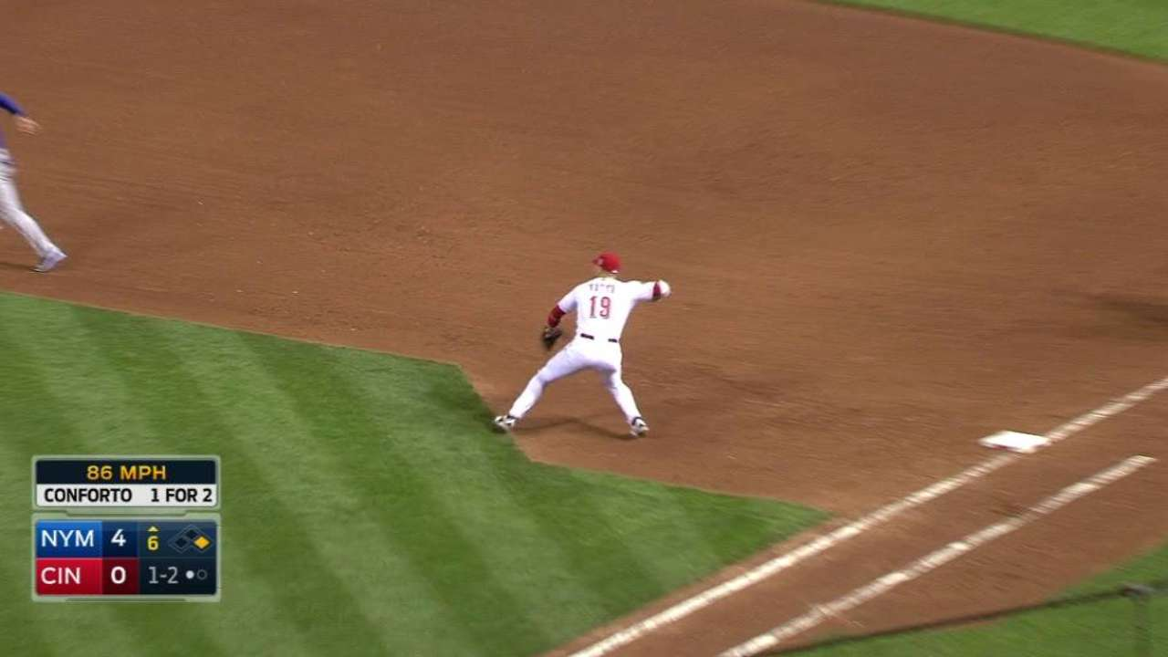 Votto starts a double play