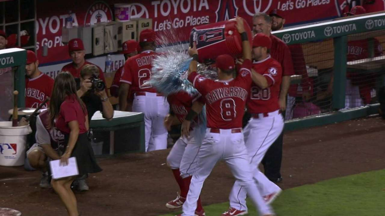 Giavotella on win, gets drenched