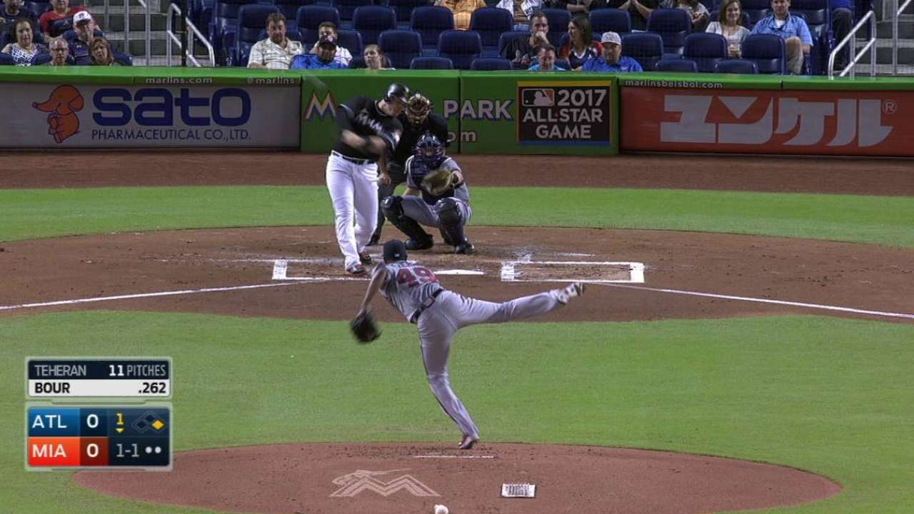 Bour, Nicolino lead Marlins over Braves