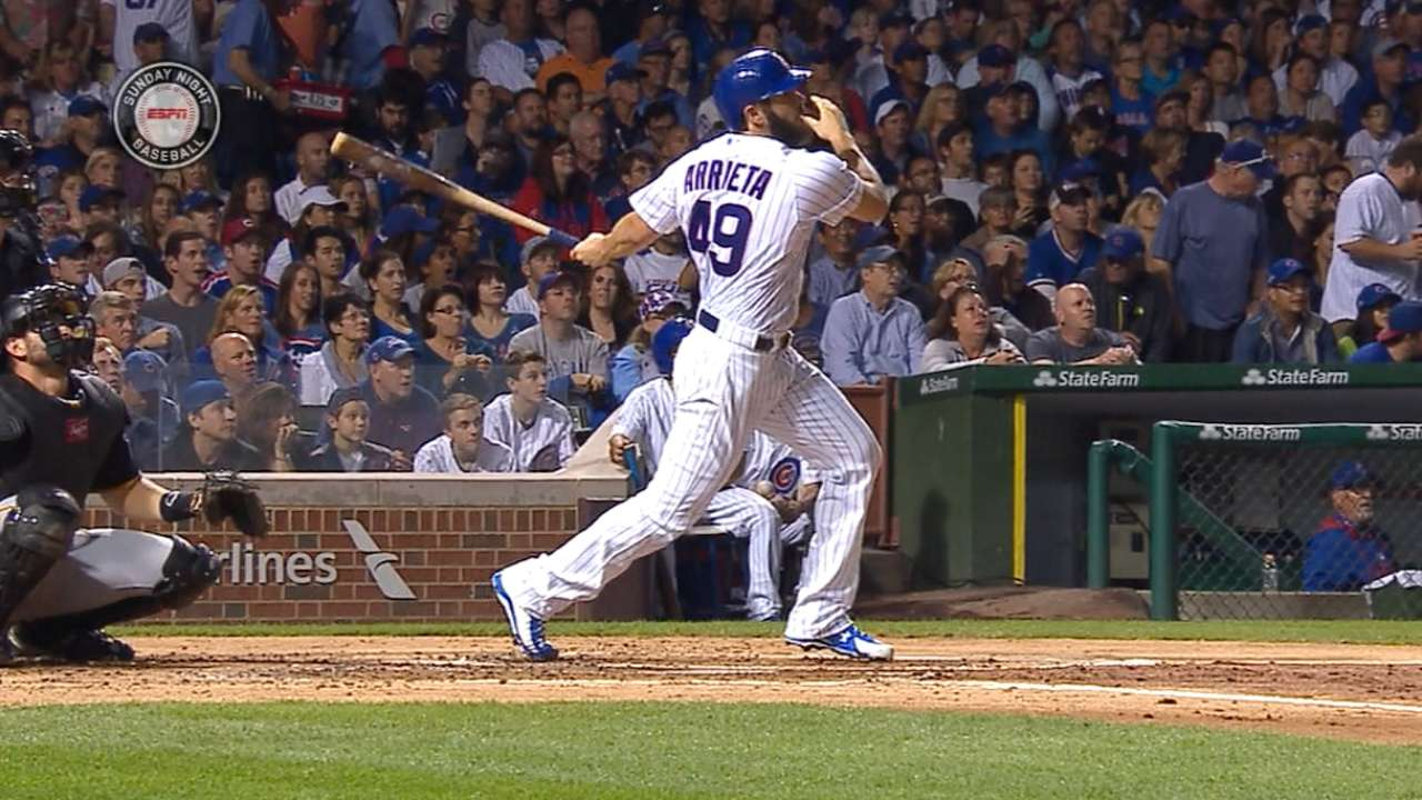 Must C: Arrieta blasts home run
