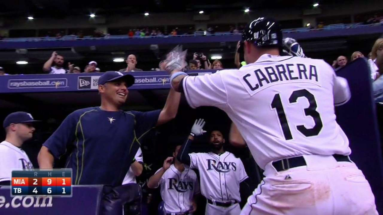 Cabrera's HR leads Rays to win over Marlins