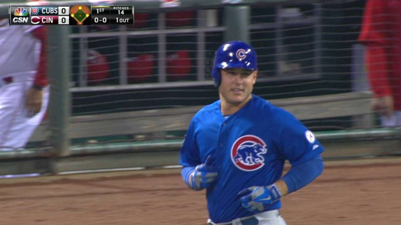 Rizzo gets hit by a pitch