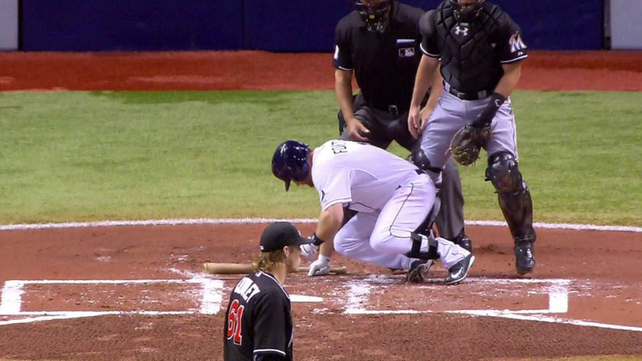 Forsythe hit by pitch in foot