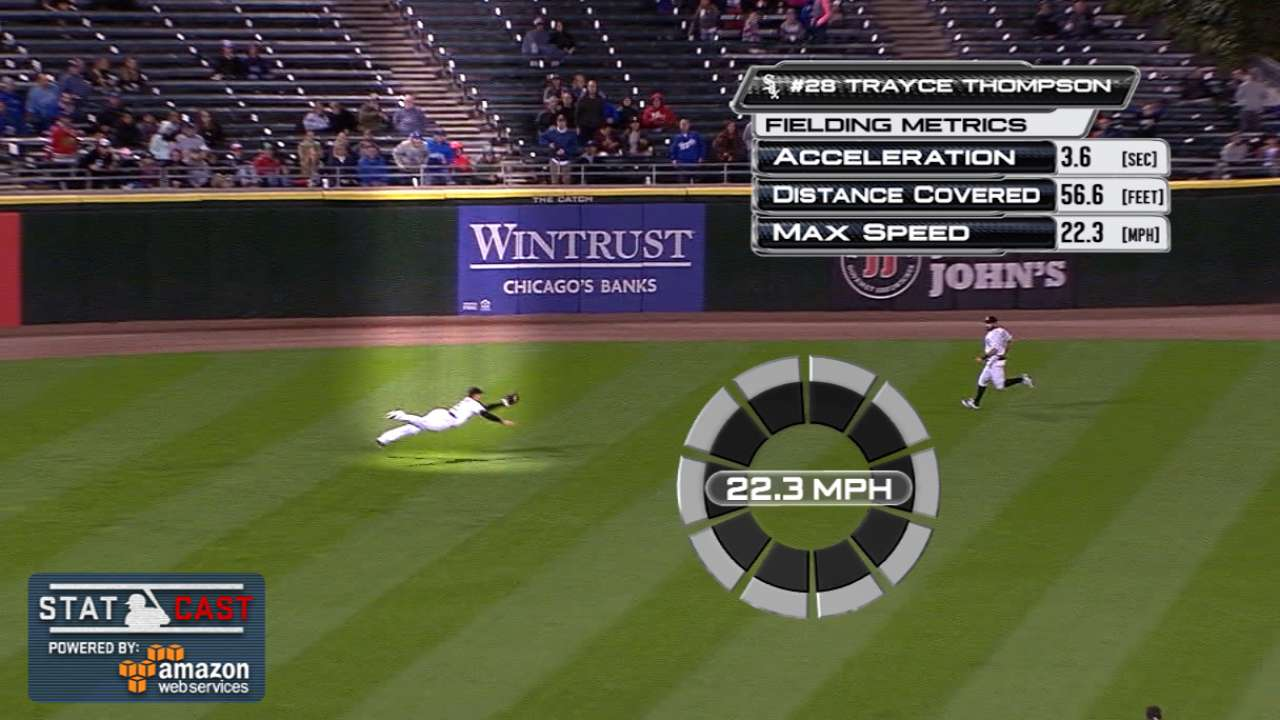 Statcast: Thompson's diving grab