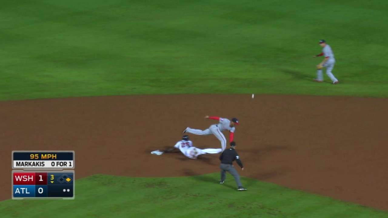 Maybin steals second base