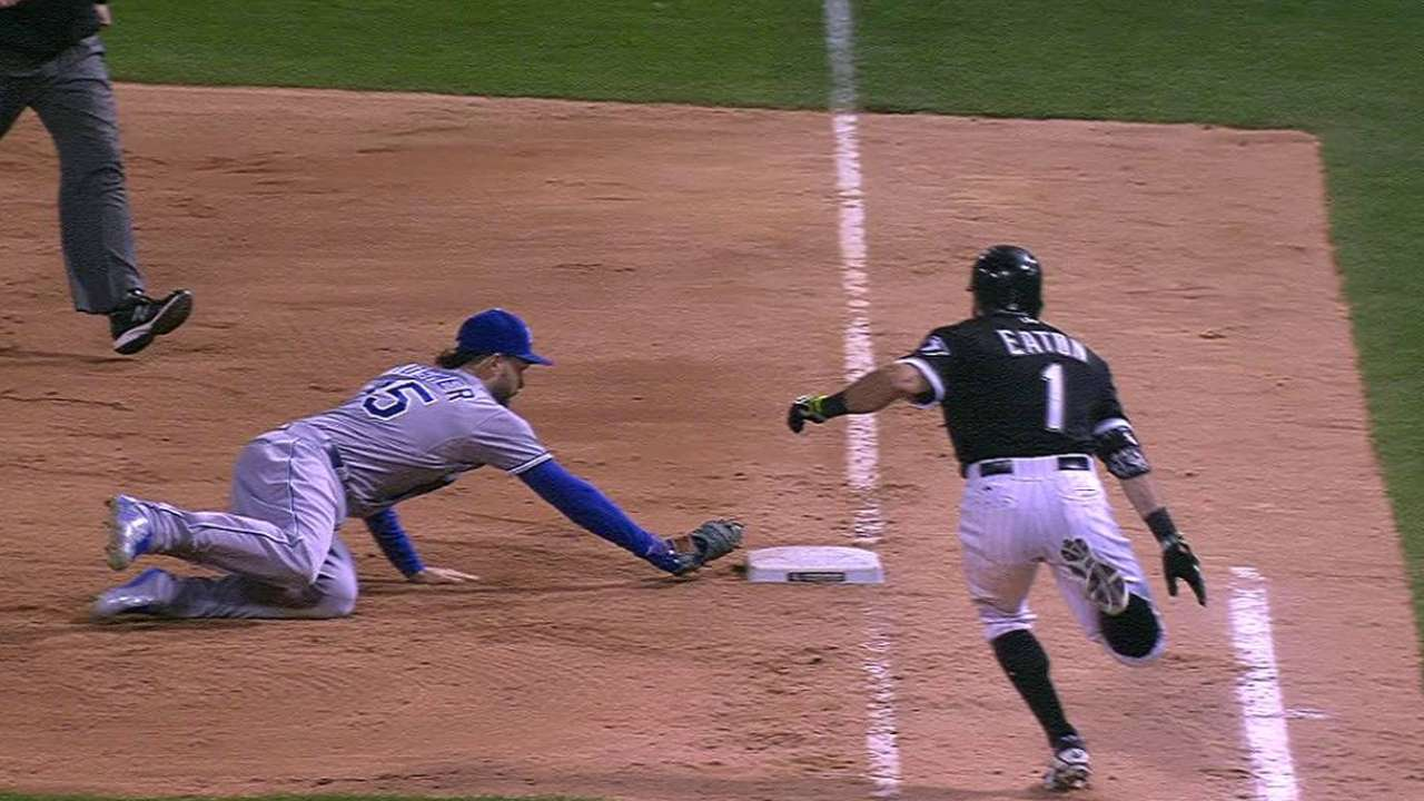 Hosmer's diving tag ends game
