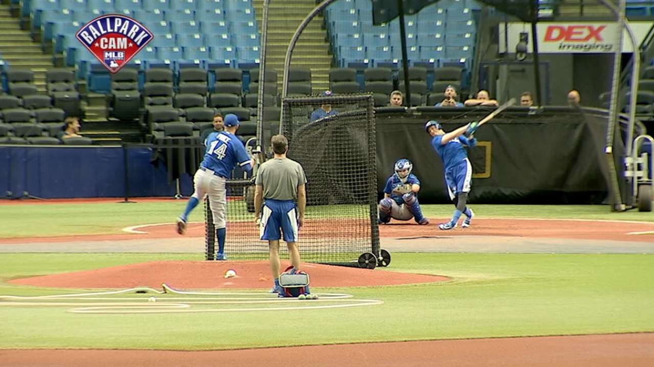 Tulo takes live batting practice