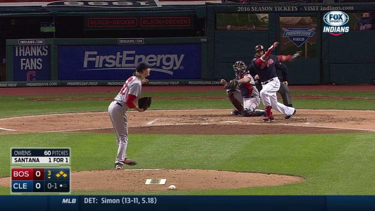 Santana brilla y lidera triunfo de Indios vs. Boston
