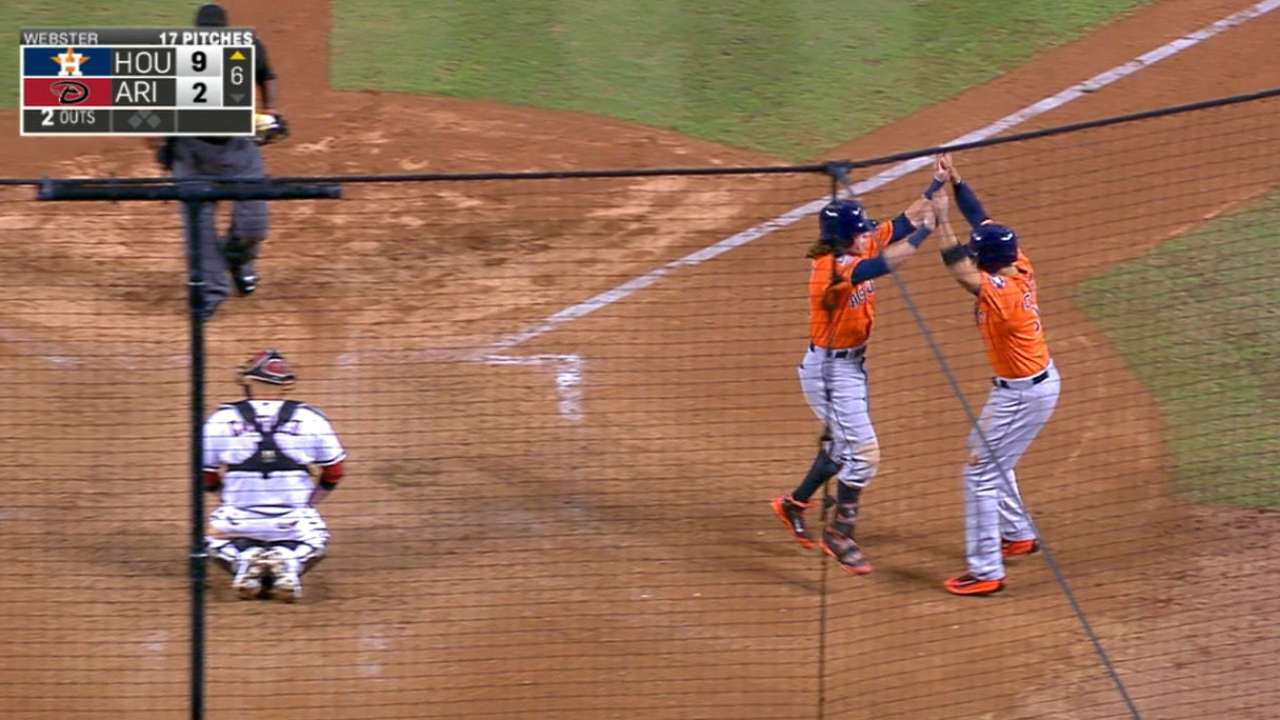 Astros club four homers in win
