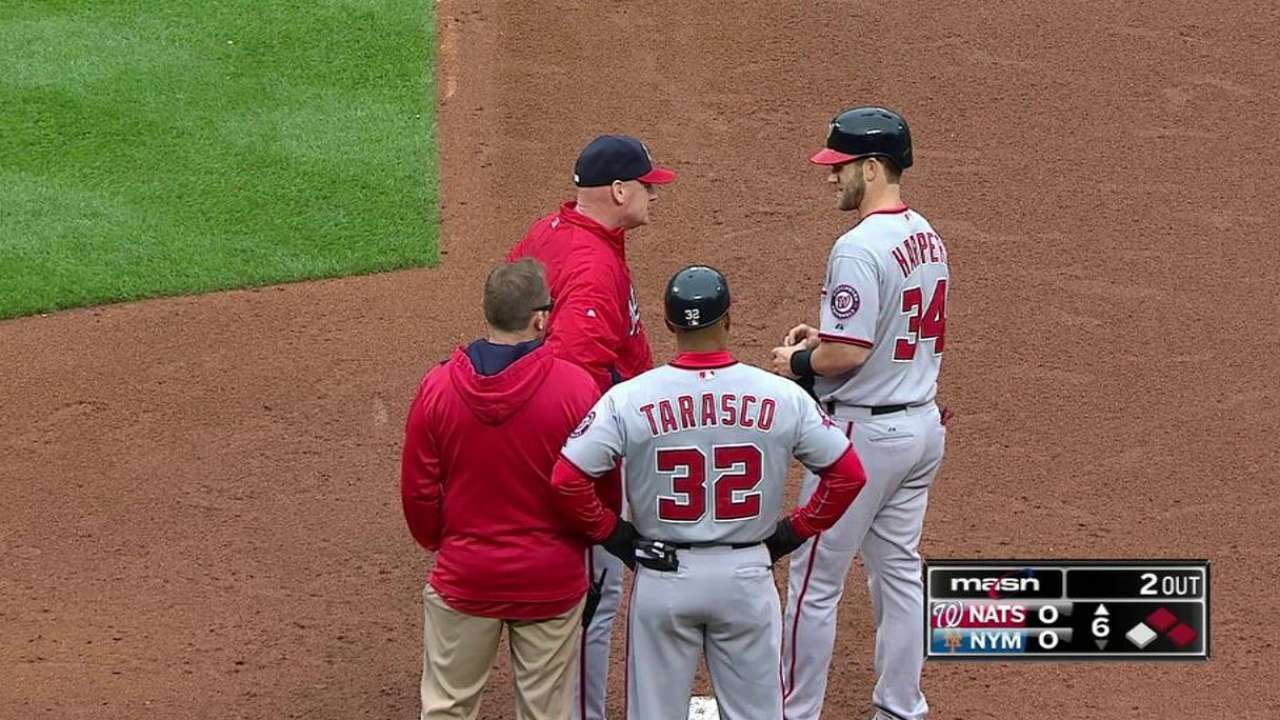 Harper gets hit by pitch
