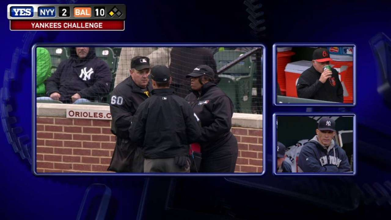 Yankees win challenge on HBP