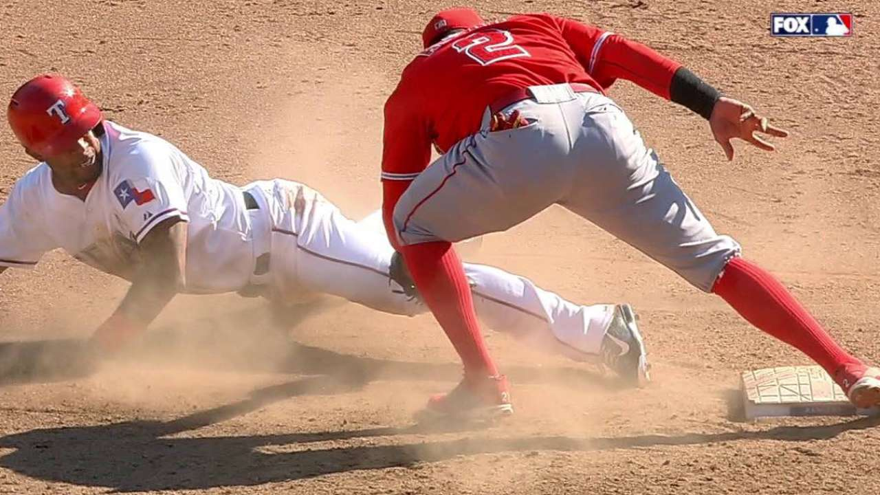 Aybar's tag on Andrus ends game