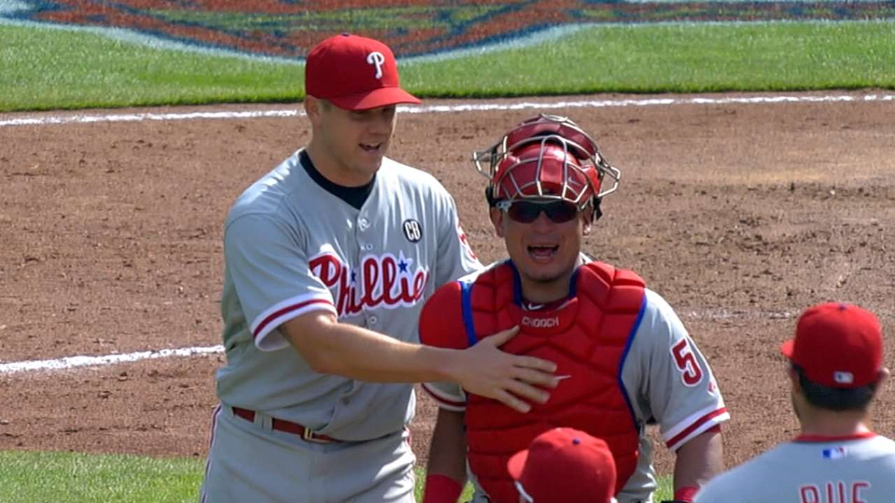 Phillies honor Ruiz for catching four no-hitters