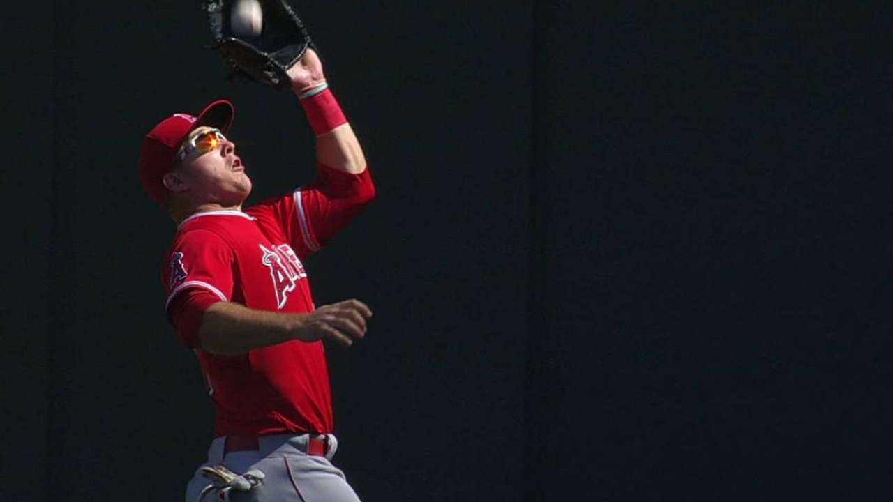 Trout's running catch saves run