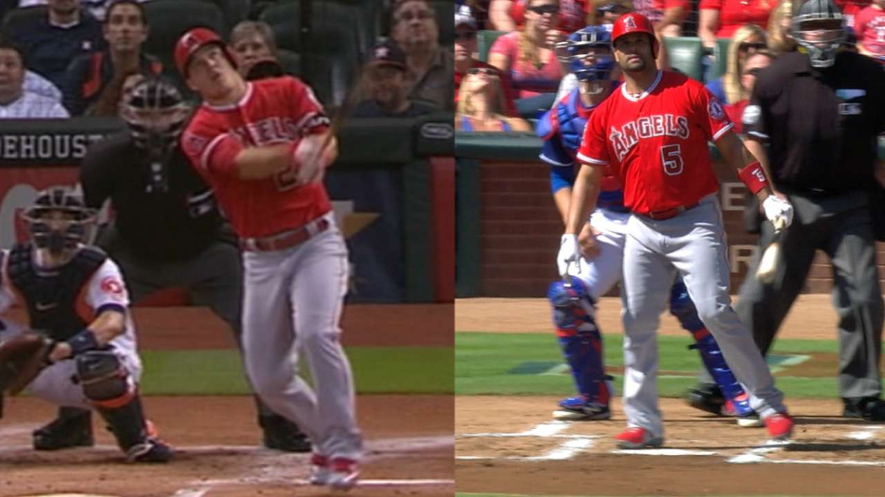 Pujols joins Trout with 40 HRs