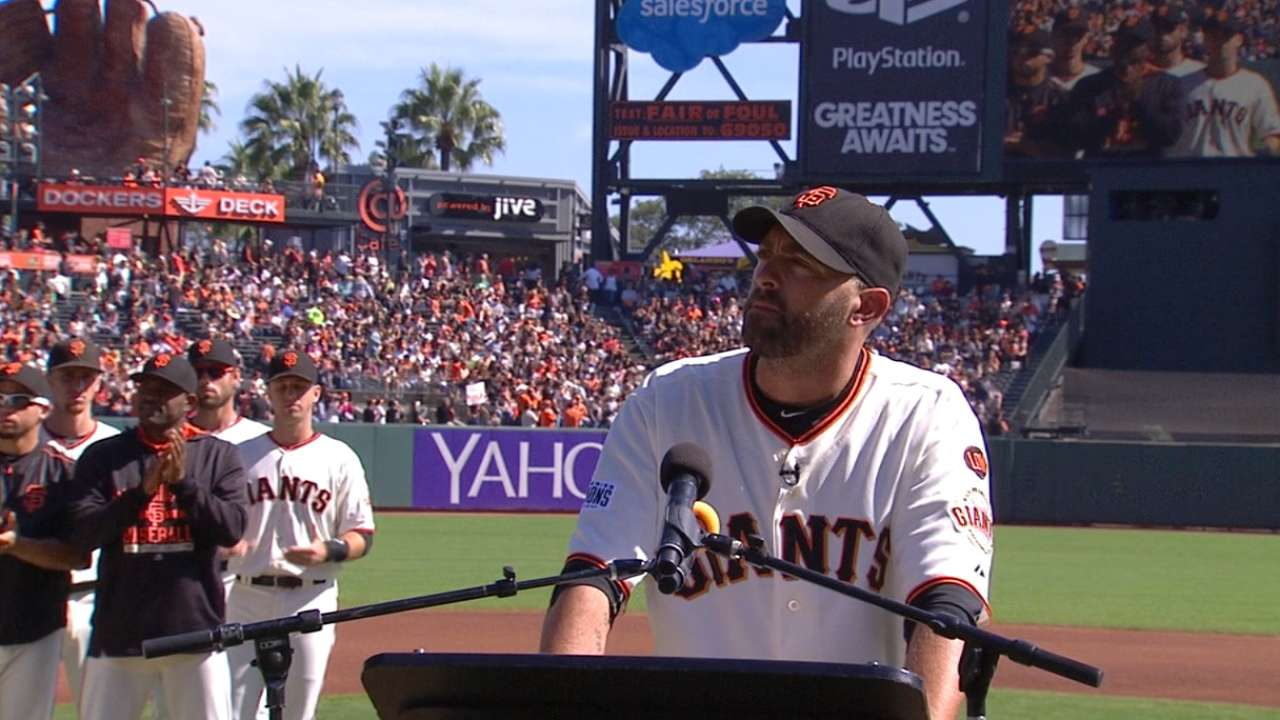 Affeldt is honored at AT&T Park