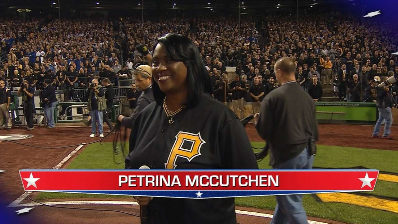McCutchen's mom sings national anthem