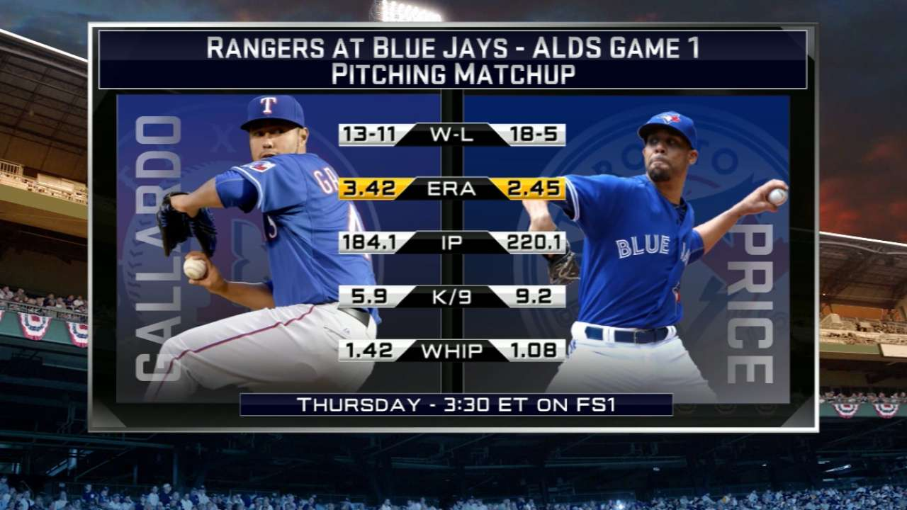 Rangers, Blue Jays lineups for today's Game 1