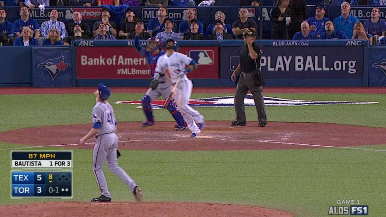 Bautista leaves ALDS Game 1 with cramp