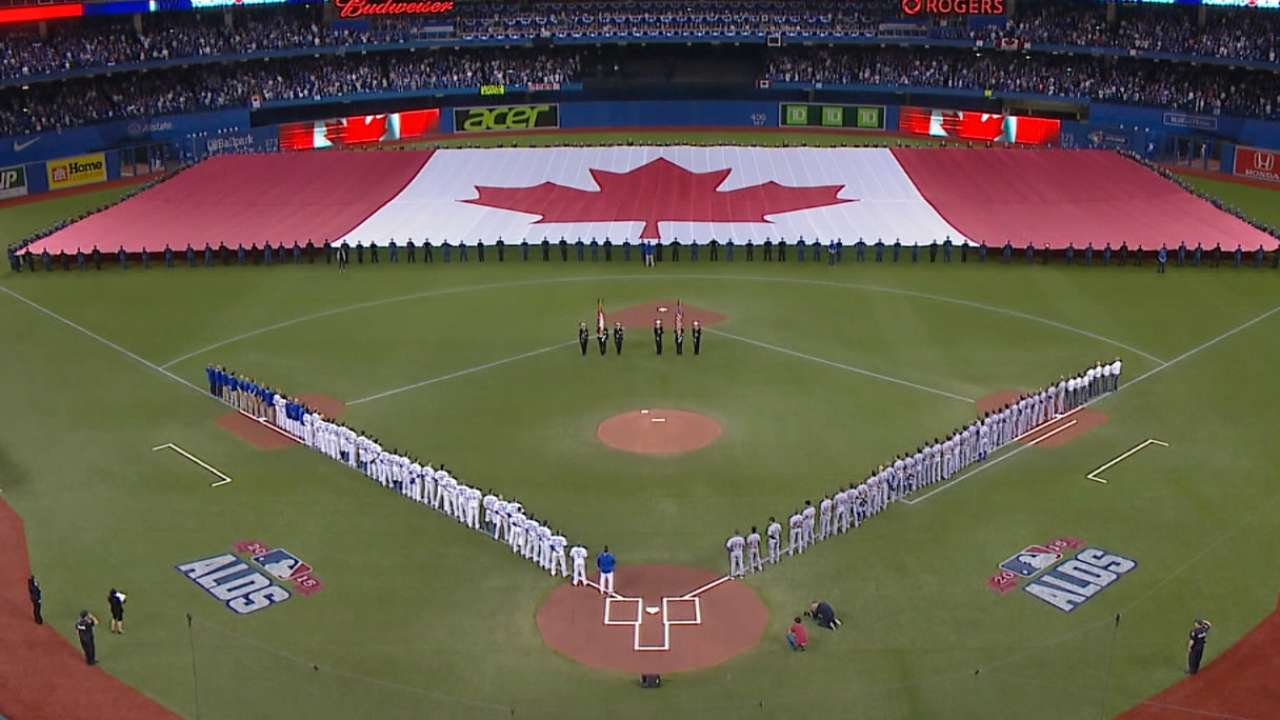 Blue Jays highlight past, present before Game 1