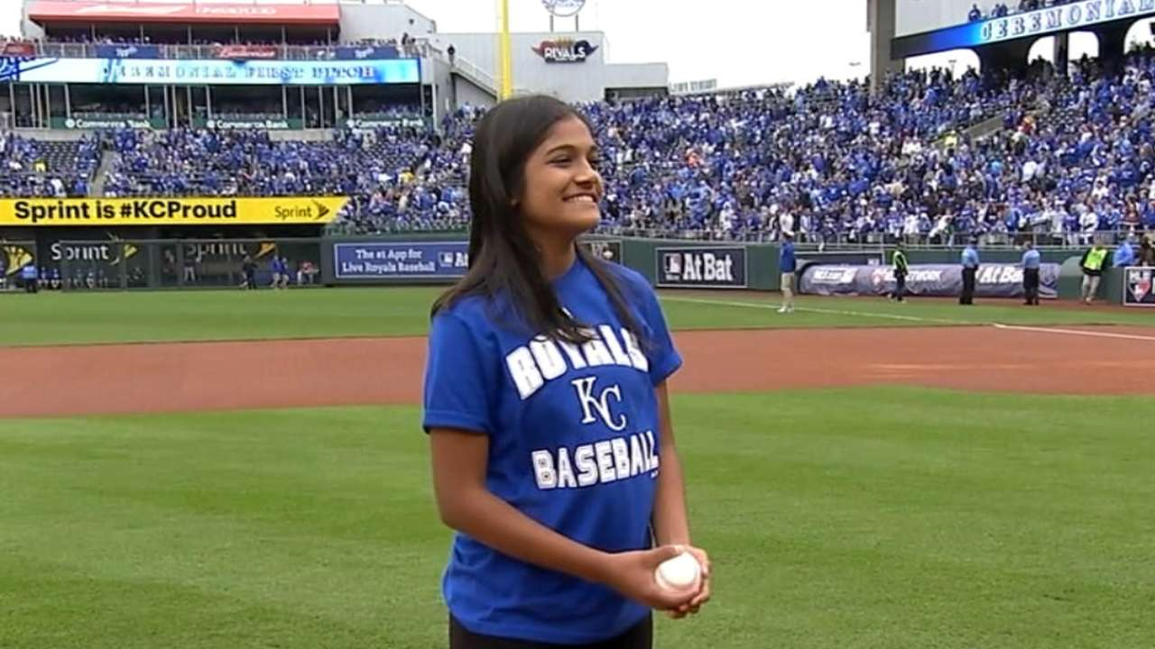 Spelling Bee champ tosses Game 2 first pitch