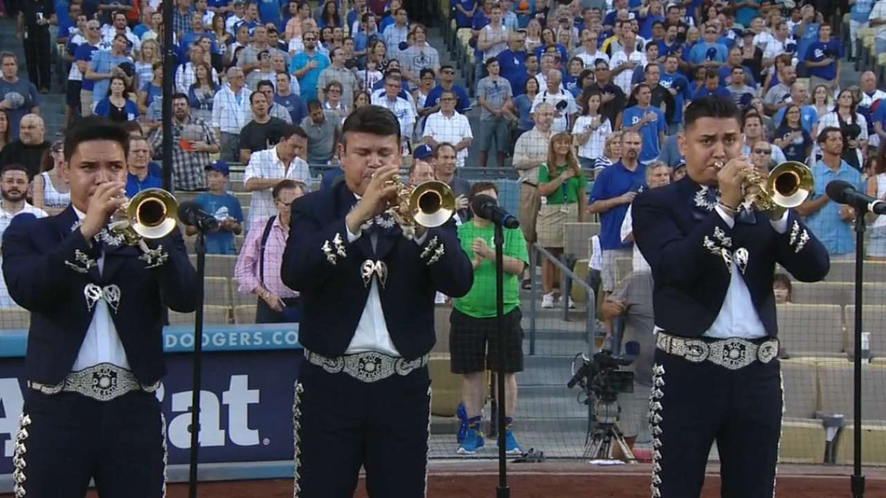 Mariachi band performs anthem